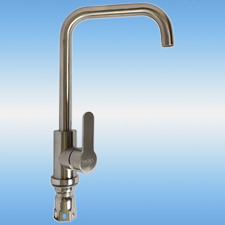 Смеситель для кухни MAGNUS 9102 однорычажный, высокий круглый излив, нержавеющая сталь 304