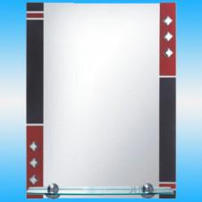 Зеркало FRAP F604 прямоугольное с красно-черными вставками, 1 полочка 800x600