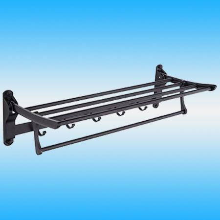 Полка LEDEME L5524 откидная с крючками металлическая, черный