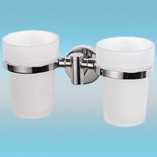 Держатель для 2-х стаканов LEDEME L1708 настенный, металлический, хром