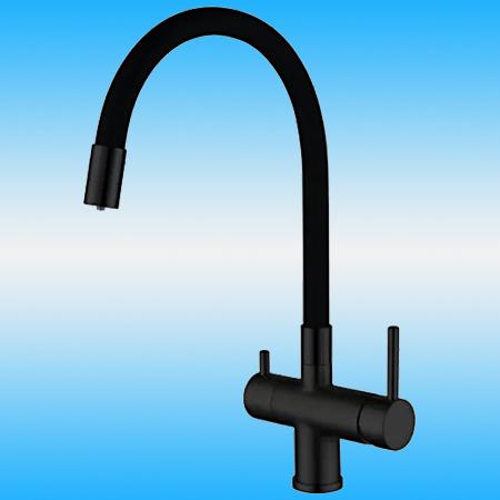 Смеситель для кухни, под фильтр GAPPO G4398-36 однорычажный, высокий гибкий излив, черный