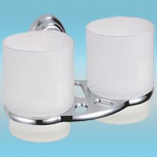 Держатель для 2-х стаканов и 2-х з/щеток LEDEME L1508 настенный, металлический, хром