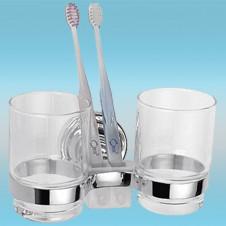 Держатель для 2-х стаканов и 2-х з/щеток LEDEME L1408 настенный, металлический, хром