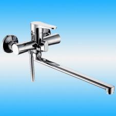 Смеситель для ванны FRUD F2139-B однорычажный, плоский S излив 300 с дивертором, хром