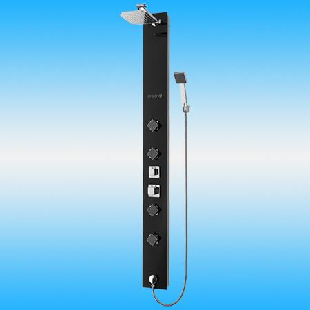 Душевая панель CREAVIT PT909 из стекла с гидромассажем, черная, глянцевая