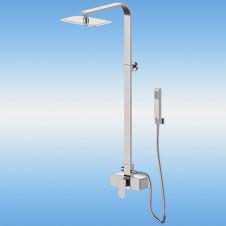 Душевая стойка BRAVAT с однорычажным смесителем, поворотный излив, верхней и ручной лейкой, хром