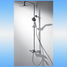 Душевая стойка BRAVAT с термостатическим смесителем, верхней и ручной лейкой, нерж.сталь