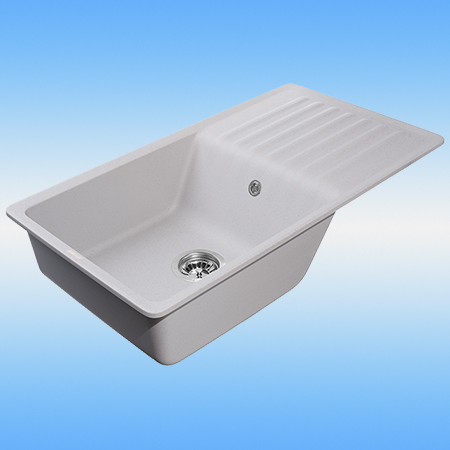 Кухонная мойка из кварца GRANFEST QUARTZ GF ZW-73 серый 860х480х180, сифон в комплекте