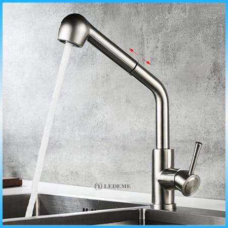 Смеситель для кухни LEDEME L76014 однорычажный, выдвижной излив, нержавейка