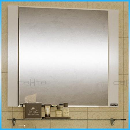 Зеркальный шкаф САНТА ВИКТОРИЯ 80 белый, трельяж, 3 дверцы, фацет 795х730х155 стеклянная полка