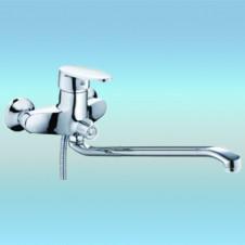 Смеситель для ванны РМС SL39-006E однорычажный, плоский излив, встроенный дивертор, хром