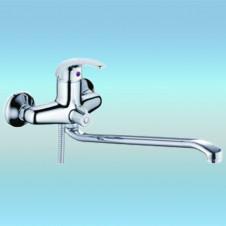 Смеситель для ванны РМС SL41-006E однорычажный, плоский излив, встроенный дивертор, хром