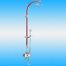 Душевая стойка CREAVIT SH771 со смесителем, короткий излив, верхней и ручной лейкой, красный