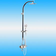 Душевая стойка CREAVIT SH772 со смесителем, короткий излив, верхней и ручной лейкой, черный