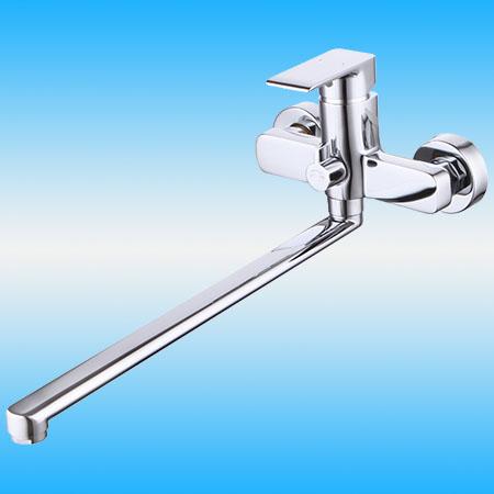 Смеситель для ванны/душа СМАРТ ПРЕСТИЖ нажимной дивертор, плоский излив 350 мм, хром