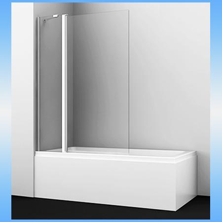 Шторка на ванну WasserKraft BERKEL 48P02-110, 1400х110, универсальная, 2-х створчатая, распашная