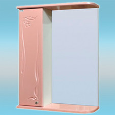 Зеркало-шкаф СТК ГЛОРИЯ 50 левый 525х705х180 розовый, без подсветки