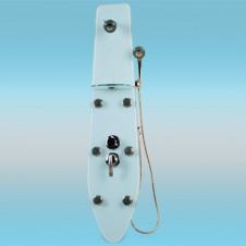 Душевая стойка LANMENG LM 603-3 без смесителя, с лейкой, полкой, гидромассажем 130x30