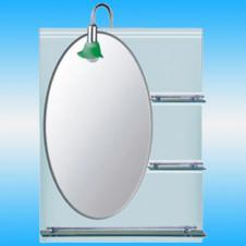 Зеркало FRAP F607 овальное с серо-матовым фоном, 3 полочки 800x600
