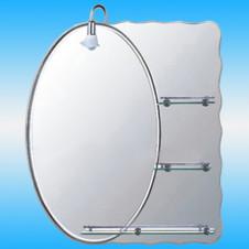Зеркало FRAP F609 овальное с серым фоном, 3 полочки 800x700