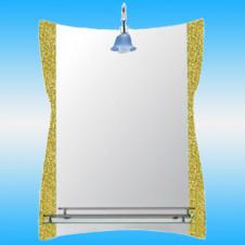 Зеркало FRAP F611 прямоугольное с золотистыми краями, 1 полочка 800x600