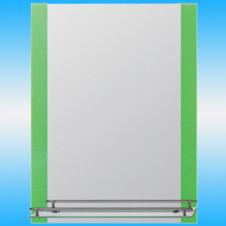 Зеркало FRAP F618 прямоугольное с зелеными краями, 1 полочка 800x600