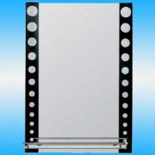 Зеркало FRAP F619 прямоугольное с серыми кругами на черном фоне, 1 полочка 700x500