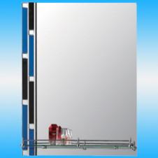 Зеркало FRAP F620 прямоугольное с черно-синими полосками, 1 полочка 800x600