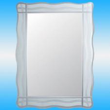 Зеркало FRAP F622 прямоугольное с серыми полосками и волнистыми краями 600x450