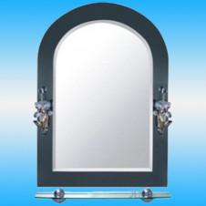 Зеркало FRAP F623 арочное с темно-серыми краями, 2 светильника, 1 полочка 700x500