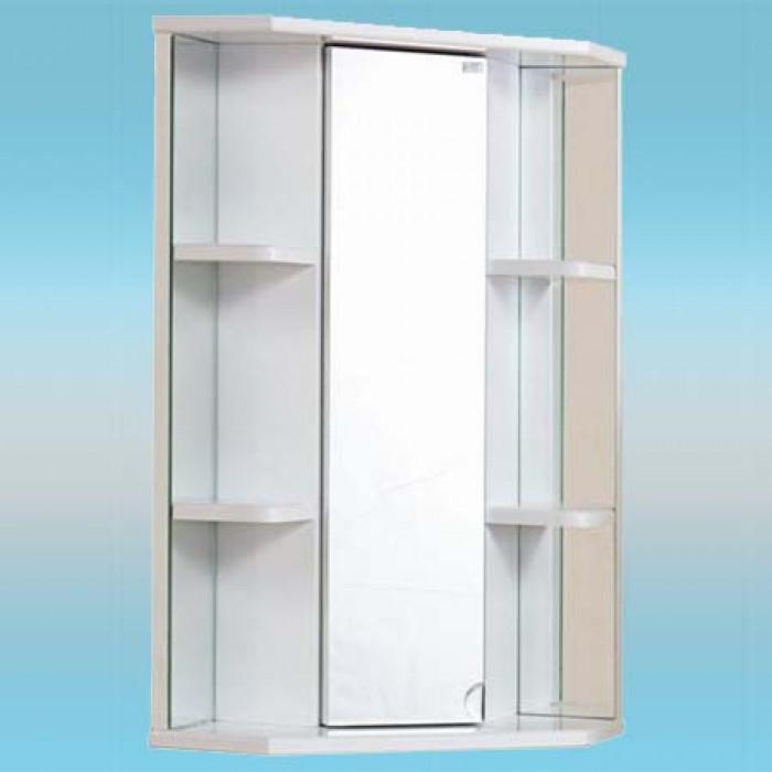 Шкаф-зеркало угловое onika кредо-35у белый, 5 полочек.