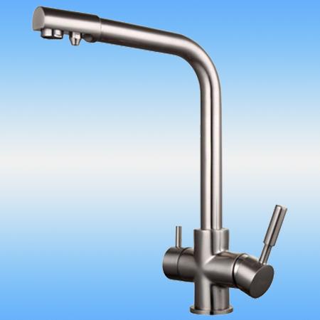 Смеситель для кухни FRAP F4352-5 однорычажный, с доп. выходом под фильтр, 40мм, на гайке, сатин