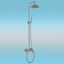 Душевая стойка FRAP F2411 с однорычажным смесителем, короткий излив, верхней и ручной лейкой, хром