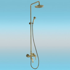 Душевая стойка FRAP F2410 с однорычажным смесителем, короткий излив, верхней и ручной лейкой, бронза