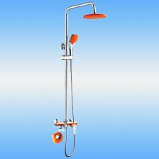 Душевая стойка FRAP F2403 с двухручковым смесителем, верхней и ручной лейкой, хром