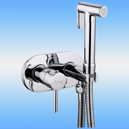 Смеситель для биде FRAP F7505 однорычажный, настенный, с гигиенической лейкой, хром