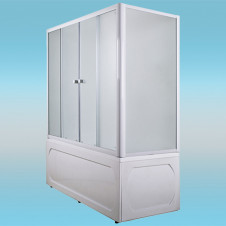 Шторка на ванну МАРКА №1 4-х створчатая 1400×1400 белая