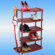 Полка для обуви СТК 5 ярусов, широкая, пластик, коричневая