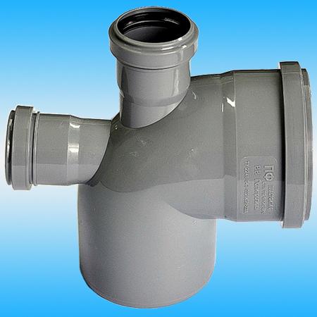 Отвод канализационный с горизонтальным и вертикальным патрубками ø 110х110/50х50