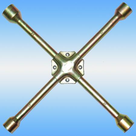 Ключ балонный крестовой ЕРМАК SJ012Z усиленный 17-19-21-23 толщина 14 мм, желтый цинк 766-006