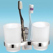 Держатель для 2-х стаканов и 2-х з/щеток FRAP F1908 настенный, металлический, хром