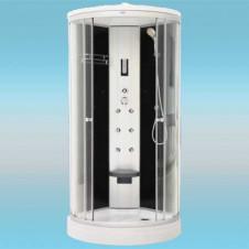 Душевая кабина LUXUS 836 поддон низкий 900x900x2180 прозрачная с черными задними стенками