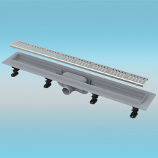 Водоотводящий желоб ALCAPLAST APZ10 пластиковый 950мм с решеткой из нержавеющей стали, матовый