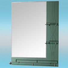 Зеркало LEDEME L602 прямоугольное с зелеными краями, 3 полочки 800х800