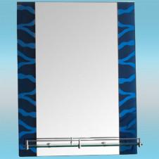 Зеркало LEDEME L604 прямоугольное с синими краями, полочка 600х450