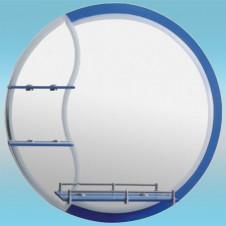 Зеркало LEDEME L608 круглое с синим краем, 3 полочки 700х700