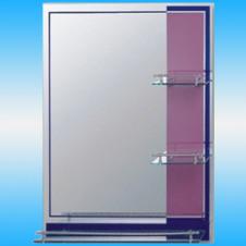 Зеркало FRAP F621 прямоугольное с сине-розовыми полосками, 3 полочки, 800x600