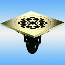 Трап душевой с решеткой MAGdrain C09Q5-Z 100x100, выпуск 50мм, сухой затвор, Zirconium gold(PVD)