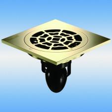 Трап душевой с решеткой MAGdrain C08Q5-Z 100x100, выпуск 50мм, сухой затвор, Zirconium gold(PVD)