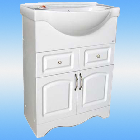 Тумба под раковину СТК ЛАУРА-60 белая, 2 двери, 2 ящика (под раковину CERSANIA-60) 560х800х336
